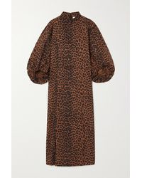 Ganni + Net Sustain Leopard-print Organic Cotton-poplin Midi Dress - Brown
