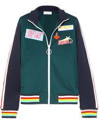Mira Mikati - Striped Appliquéd Stretch Scuba-jersey Track Jacket - Lyst