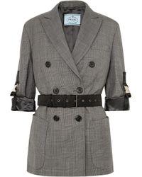 Prada - Belted Checked Wool Blazer - Lyst
