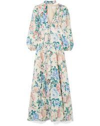Zimmermann Verity Floral-print Linen Maxi Dress - Blue