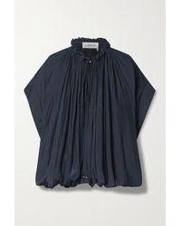 Lanvin Tie-detailed Gathered Crepe De Chine Blouse - Blue