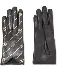 Gucci - Printed Leather Gloves - Lyst