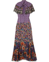 Anna Sui - Printed Silk Crepe De Chine And Georgette Maxi Dress - Lyst