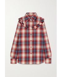 Miu Miu Ruffled Checked Cotton-flannel Shirt - Red