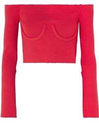 Orseund Iris Cropped Off-the-shoulder Ribbed-knit Sweater - Red