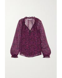 Veronica Beard Antonette Ruffled Floral-print Silk-chiffon Blouse - Red