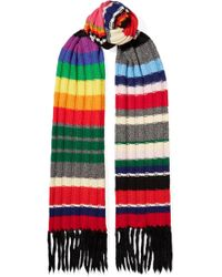 Burberry - Fringed Striped Ribbed Cashmere-blend Scarf - Lyst