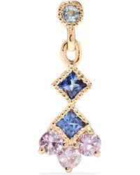 Jennie Kwon | Momentum 14-karat Gold, Aquamarine And Sapphire Earring | Lyst