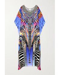 Camilla Crystal-embellished Printed Silk Crepe De Chine Kaftan - Purple