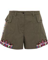 Valentino | Embellished Cotton-twill Shorts | Lyst