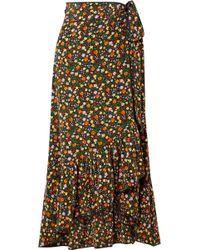 Ganni - Joycedale Ruffled Floral-print Silk-crepe Wrap Skirt - Lyst