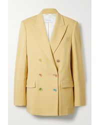 Racil Cambridge Double-breasted Wool-blend Twill Blazer - Yellow