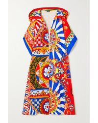 Dolce & Gabbana Oversized Hooded Printed Cotton-terry Robe - Blue