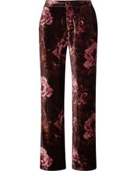 F.R.S For Restless Sleepers - Crono Floral-print Velvet Pajama Pants - Lyst