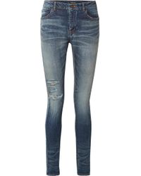 Saint Laurent - Distressed High-rise Skinny Jeans - Lyst