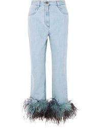 Prada - All Designer Products - Feather-trimmed Boyfriend Jeans - Lyst