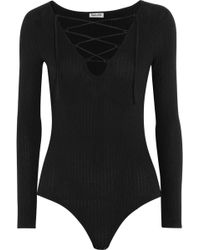 Splendid - Lace-up Ribbed Stretch-knit Bodysuit - Lyst