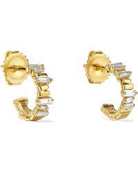 Suzanne Kalan - 18-karat Gold Diamond Hoop Earrings - Lyst
