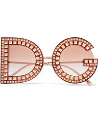 Dolce & Gabbana - Crystal-embellished Acetate And Rose Gold-tone Sunglasses - Lyst