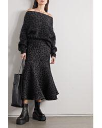 Valentino Off-the-shoulder Mohair-blend Leopard Jacquard-knit Jumper - Grey