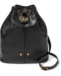Gucci Re(belle) Mittelgroße Wandelbare Beuteltasche Aus Strukturiertem Leder - Schwarz