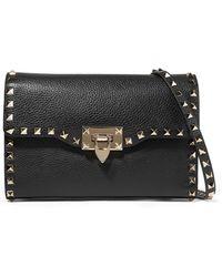 Valentino - Garavani The Rockstud Textured-leather Shoulder Bag - Lyst