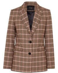 Maje Valilo Checked Tweed Blazer - Brown