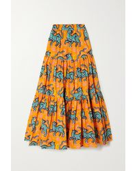 La DoubleJ Big Tiered Printed Cotton-poplin Midi Skirt - Orange