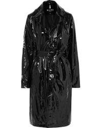 Rains Trench-coat En Pu Brillant - Noir