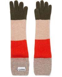 Ganni Striped Wool-blend Gloves - Multicolour