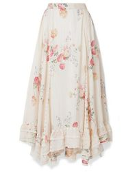 LoveShackFancy Navya Asymmetric Lace-trimmed Floral-print Washed-silk Skirt - White