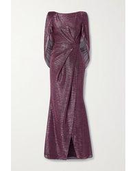 Talbot Runhof Socrates Cape-effect Draped Metallic Voile Gown - Pink