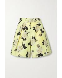 Erdem Howard Floral-print Cotton-faille Shorts - Yellow