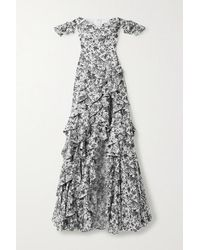 Caroline Constas Off-the-shoulder Ruffled Floral-print Cotton-blend Poplin Gown - White
