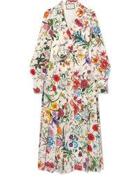 Gucci - Pleated Floral-print Silk Crepe De Chine Dress - Lyst