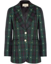 Gucci - Embroidered Checked Wool Blazer - Lyst