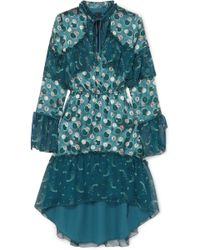 Anna Sui - Cosmos Printed Fil Coupé Sateen And Crinkled Silk-chiffon Dress - Lyst