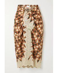 Miguelina Layna Crochet-trimmed Printed Cotton-voile Pareo - Natural