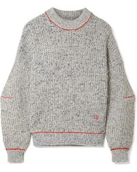 Victoria Beckham - Embroidered Cotton And Wool-blend Sweater - Lyst