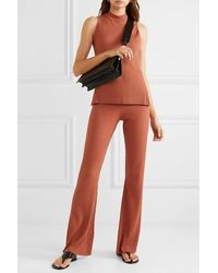 Calé Angelique Ribbed Stretch-jersey Flared Trousers - Brown