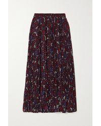 MICHAEL Michael Kors Zinnia Pleated Floral-print Chiffon Midi Skirt - Purple