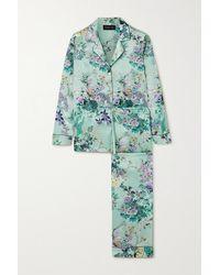 Meng Pyjama Aus Seidensatin Mit Blumenprint - Grün