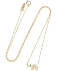 Jennifer Meyer - Mini Elephant 18-karat Gold, Diamond And Emerald Necklace - Lyst