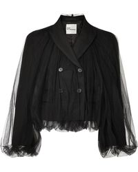 Noir Kei Ninomiya - Cropped Wool And Tulle Blazer - Lyst