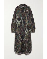 Dries Van Noten Robe-chemise Longue En Crêpe De Chine De Soie Imprimé Cayley - Marron