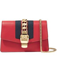 Gucci | Sylvie Mini Chain-embellished Leather Shoulder Bag | Lyst