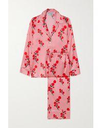 BERNADETTE Piped Floral-print Silk-blend Satin Pyjama Set - Pink
