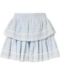 LoveShackFancy Riviera Tiered Crochet-trimmed Cotton-voile Mini Skirt - Blue