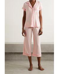 Eberjey Gisele Pyjama Aus Stretch-modal Mit Paspeln - Pink