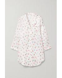 Morgan Lane Jillian Nachthemd Aus Satin Mit Blumenprint - Weiß